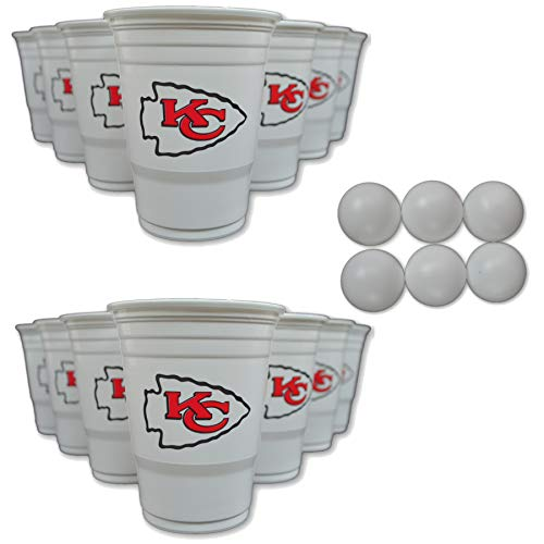 NFL Fan Shop Beer Pong Set. Rep Your Favorite Team with the Classic Game of Beer Pong at home or at the Tailgate Party - Comes with 22 Cups and 6 Ping Pong Balls (Kansas City Chiefs) ()