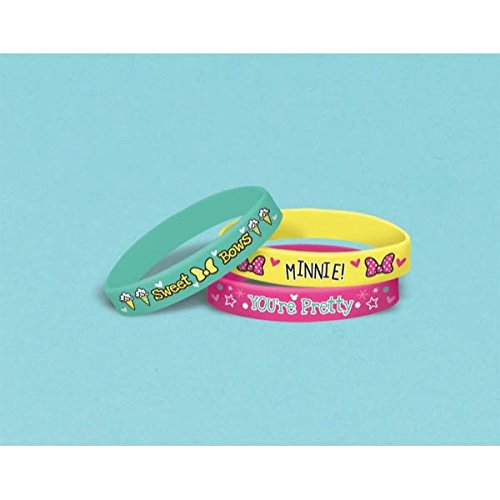 Disney Minnie Mouse Rubber Bracelets Birthday Party Accessory Favour and Prize Giveaway (4 Pack), Multi Color, 2 1/2