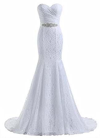 Beautyprom Vestidos de Boda del cordón de la Sirena de Novia de la Mujer (32, Blanco)