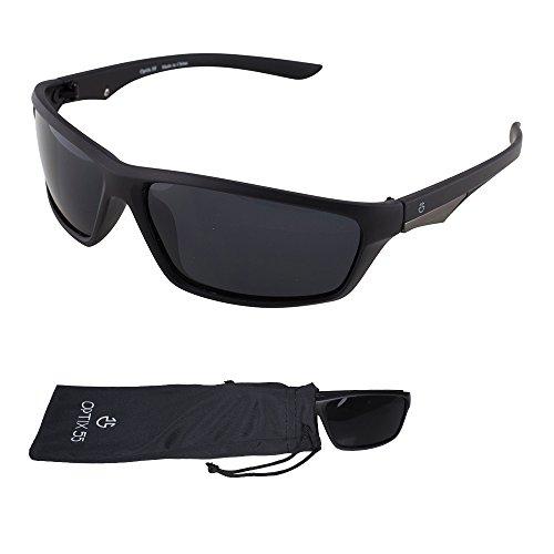 Polarized Sport Sunglasses - Durable Lightweight Unisex Frame For Running, Cycling, and All Sports - Bonus Microfiber Pouch - Matt Black - By Optix - For Sunglasses Cool Teens