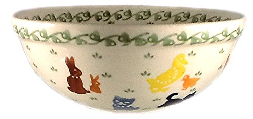Polish Pottery Ceramic Children's Tableware - Cereal Soup Icecream Bowl w/Farm Animal Design, 6'' Wide, 1.75 Cups by Poughkeepsie Polish Pottery & More