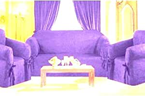 Sofa / Couch Cover Slipcover 3 Pc. Set = Sofa + Loveseat + Chair Covers / Slipcovers 3 Pcs SET Stripe Jacquard Fabric - DARK PURPLE Color (with Stripes Pattern)