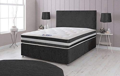 Sleep Factory Ltd Crushed Velvet Divan Bed with Memory Foam Sprung Mattress and Headboard - 6ft Super Kingsize, Black