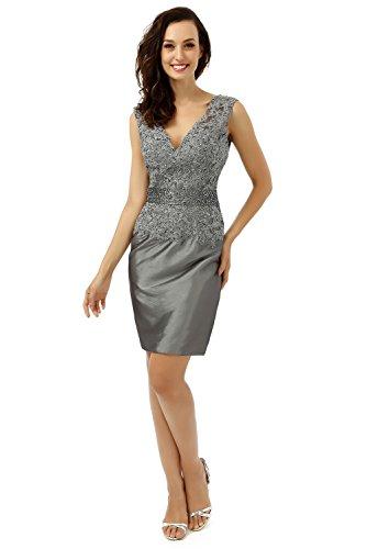 Stickerei Aufnäher Abendkleid engerla Grau kurz V Ausschnitt Satin Spitze Line Doppel Empire Damen gYPxYI