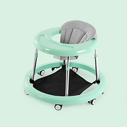 Baby Walker, 6-18 Months Baby Multi-Function Anti-Rollover Folding Anti-Skid Stroller, Baby Seat with Brake Function (Color : Green)