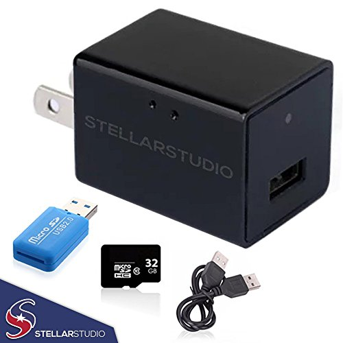 2018 New Model Hidden Stealth USB Phone Charger Spy Camera Kit - 1080p HD Motion Sensor  32g Micro SD Card and USB Micro SD Adapter