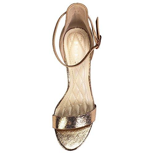 Sandalo Da Donna Con Fascia Centrale In Tacco Di Bambù Con Cinturino Alla Caviglia In Oro Rosa