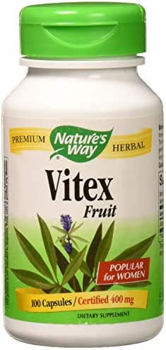 Nature's Way Vitex Fruit 400 milligrams, 100 Vegetarian Capsules. Pack of 1 Bottle