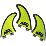 BPS STEALTH Performance Core and Netted Fibreglass Surfboard Fins Thruster FCS Style (3 Fins) by Choose Color and Size