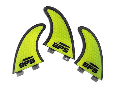 BPS Stealth Performance Core and Netted Thruster FIN Set - 3pc Fiberglass surf Board FINS with FCS G5 M5 Style - Surfing fins (Yellow)