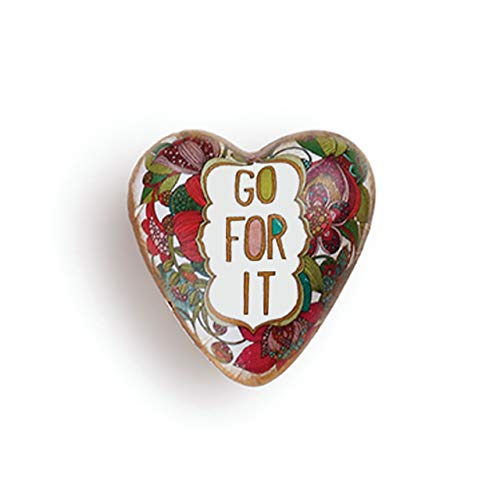 DEMDACO Go for It Floral Red 2 x 2 Resin Stone Collectible Art Heart Token Figurine