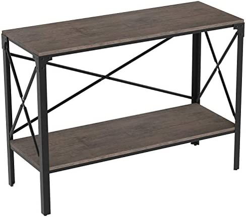 IRONCK Rustic Console Table 2 Tier, Entryway Table with Storage, Entry Table for Entryway Living Room, Easy Assembly, Industrial Style, Dark Brown