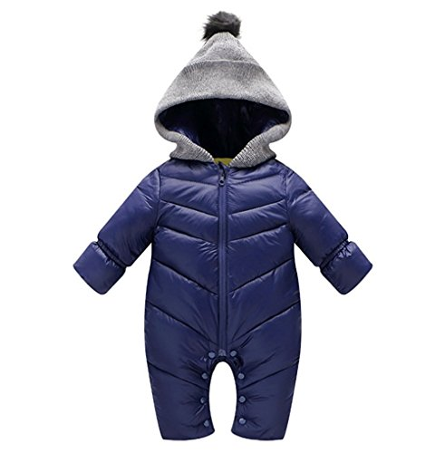 Winter Baby Thick Warm Rompers Hooded Jumpsuit Unisex Children Snowsuit Coat 3-12Months(Tag S)