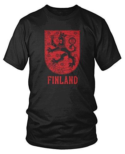 Amdesco Men's Finn Coat of Arms, Coat of Arms of Finland T-Shirt, Black 4XL (Of Finnish Coat Arms)