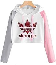 Forlove365 Girls Womens Strange Things Hoodie Crop Top Contrast Color Long Sleeve Sweatshirt