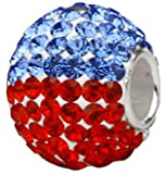 Crystal Paved Charm Bead 925 Sterling Silver Blue Red Crystal Fits Pandora Charm Bracelet