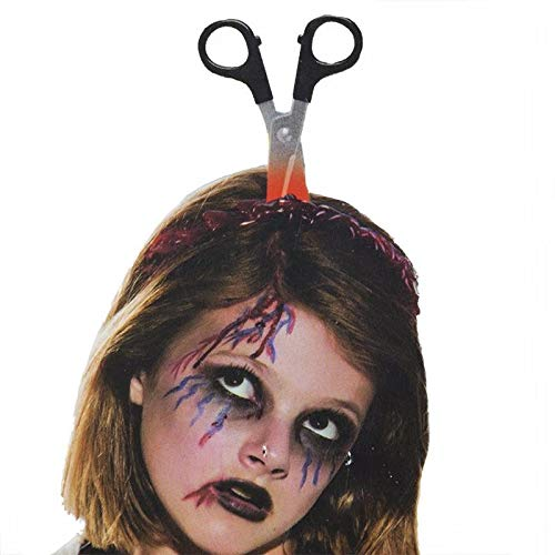 Halloween Costume Scary Weapon Headbands, 4 Packs Rubber Plastic Knife Axe Cleaver and Scissor Through Head, Zombie Accessories Makeup for Teen Girls Boys Men Women Adults Clearance Gifts -