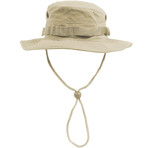 Army Combat GI Boonie Hat Hiking Fishing Bush Cap 100% Cotton Ripstop Khaki, SIZE XL ()