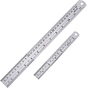eBoot Stainless Steel Ruler 12 Inch and 6 Inch Metal Rule Kit with Conversion Table