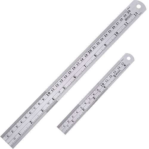Stainless Steel Ruler and Metal Rule Kit with Conversion Table (Silver, 12 Inch, 6 Inch) ()