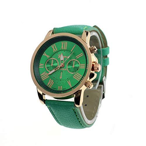 Bestow Moda Mujer Geneva Roman Geneva Reloj Mujer Numerals Faux Leather Analog Quartz Wrist(?