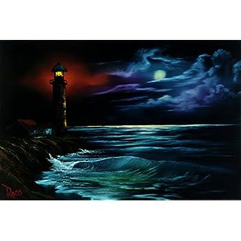 Bob Ross Night Light Art Print Painting Poster 12x18 inch