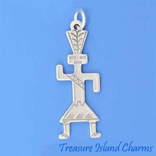 Native American Indian Kachina Doll Dancer 925 Sterling Silver Charm Pendant Crafting Key Chain Bracelet Necklace Jewelry Accessories Pendants (Owl Kachina Doll)