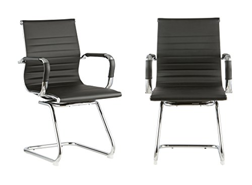 Black Leather Office Side Chair with Black Back Set of Two(Black) by Attraction Design