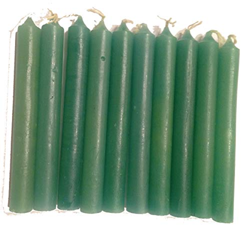 Pine Pentagram Pack of 20 Wicca Magic Ritual Small Mini Spell Chime Candles for Pagan and Witchcraft Altars (Green) ()