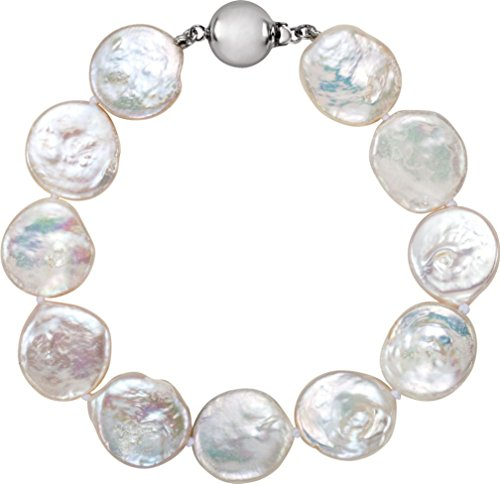 White Freshwater Cultured Coin Pearl Sterling Silver Bracelet, 7.75