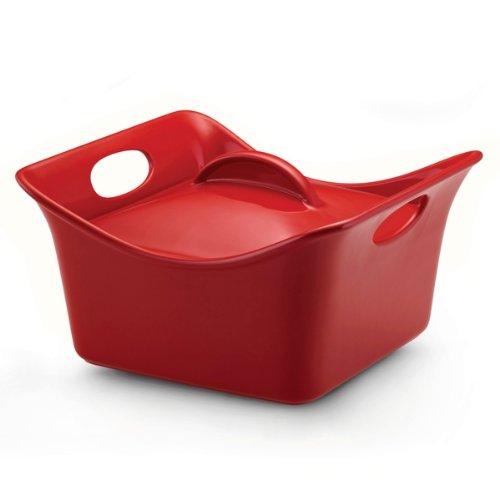 Rachael Ray Stoneware 3.5-Quart Covered Square Cassersquare Casserole, Red by Rachael Ray