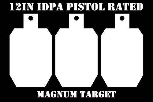 12in.Tall IDPA/ISPC Pistol Targets - 3/8in. Steel Targets - 3pc. Metal Plate Set