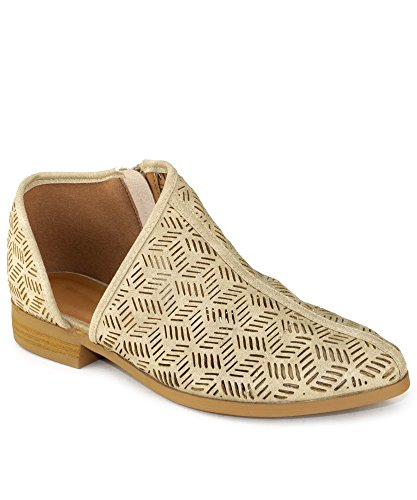 RF ROOM OF FASHION Women's Almond Toe Open Shank Slip on Loafers - Western Inspired Stacked Heel Shoes - Vegan Low Heel Flats - Stone - Out Inspired Cut