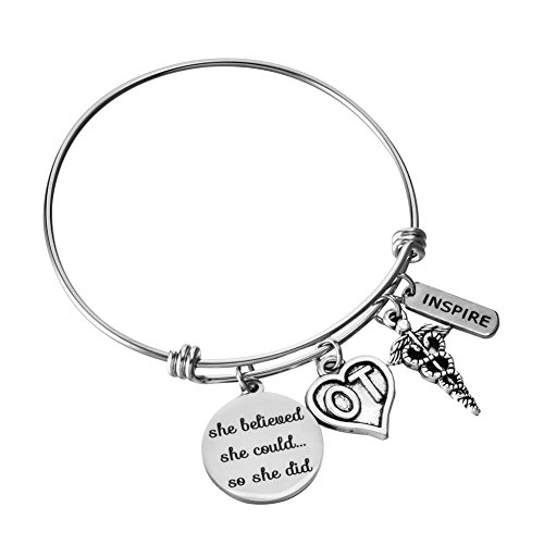 Occupational Therapist Gifts Expandable Wire Bangle OT She Believed She Could Bracelet Graduation Jewelry for Women