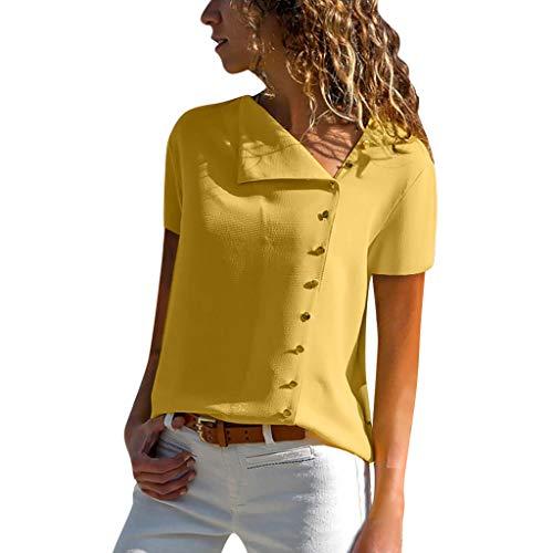 (Ladies Summer Chiffon Short Sve Button Blouse Tops Plus Size Womens Solid Color Casual Lapel Neck T-Shirt Yellow)