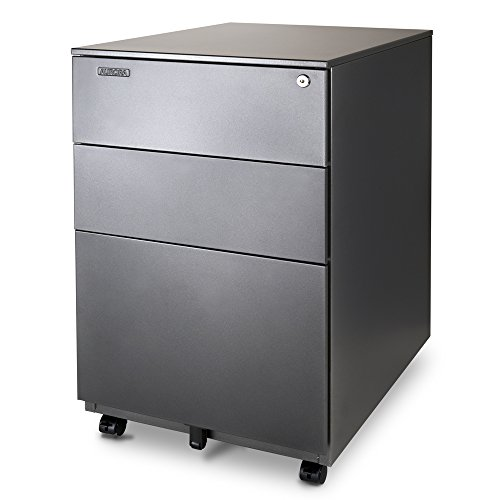 Aurora FC-103MB Modern SOHO Design 3-Drawer Metal Mobile File Cabinet with Lock Key Sliding Drawer, Fully Assembled, Metallic Charcoal