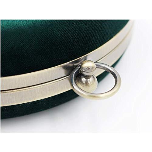 Velvet Tarde Green Mini Velvet Green Bolsa de Bolso Tamao del Velvet 18 Color Vintage Faux de Wrap la Round Tote Embrague 5cm Suede Mano 0fHYq7