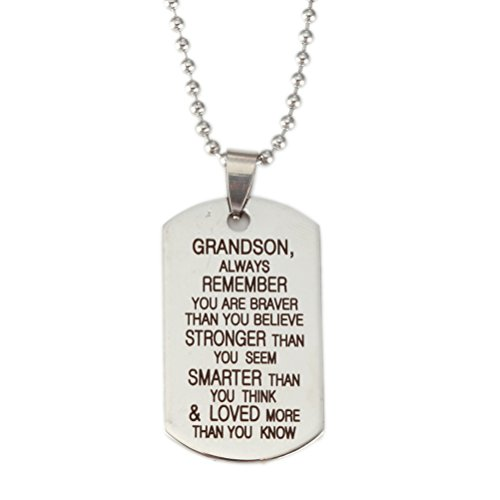 Charm.L Grace Grandson Dog Tag Pendant Necklace Keychain Inspirational Silver Golden Small Size