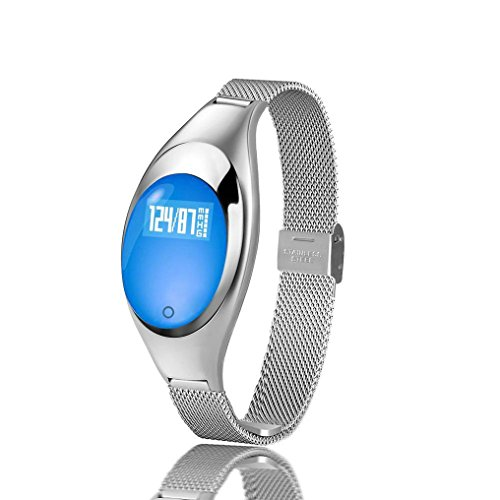 Women Fashion Smart Watch Sport Smart Bracelet Heart Rate Monitor Bluetooth Wristband(Silver)