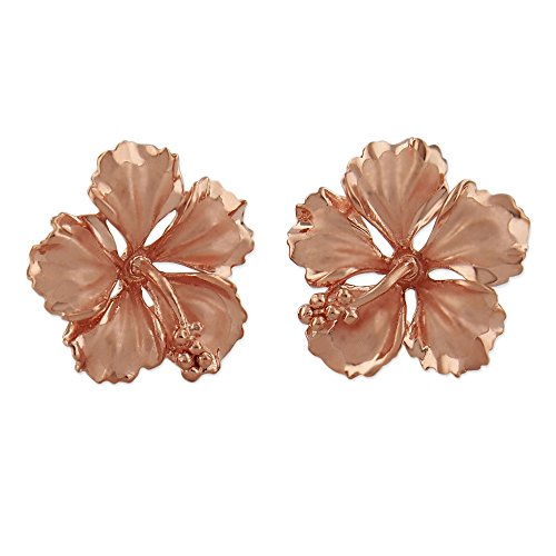 14kt Rose Gold Plated Sterling Silver 5/8 Inch Hibiscus Stud - Silver Hibiscus Ring