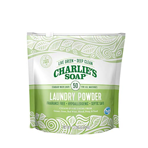 - Charlie's Soap - Fragrance Free Laundry Powder Detergent - 50 Loads (1.3 lbs, 1 Pack)