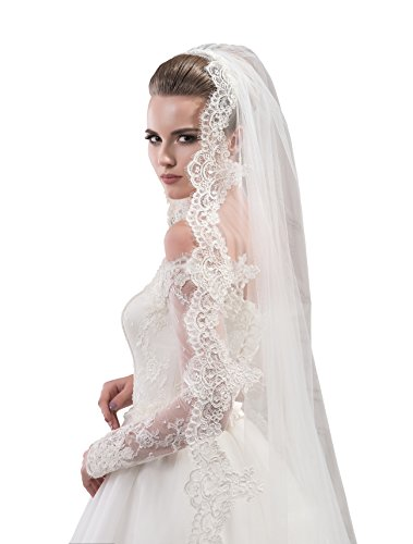 Bridal Veil Rose from NYC Bride collection (cathedral 108'', white) by NYC Bride