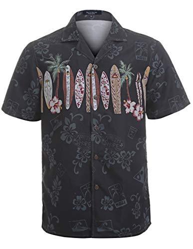 s Hawaiian Shirt Regular Fit Hawaiian Shirts for Men with Quick to Dry Effect(NT1919,L) Black ()