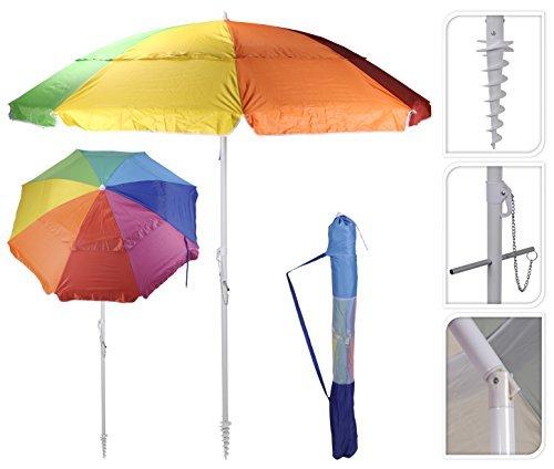 Sonnenschirm Strandschirm mit Schraubdorn 190 cm Durchmesser HOHER UV 50+