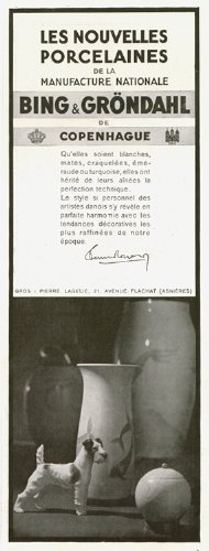 (Past Time Ads 1930 Ad Print Bing & Grondahl Copenhague Danish Porcelain Manufacturer Vases Figurines Dog Foxterier)