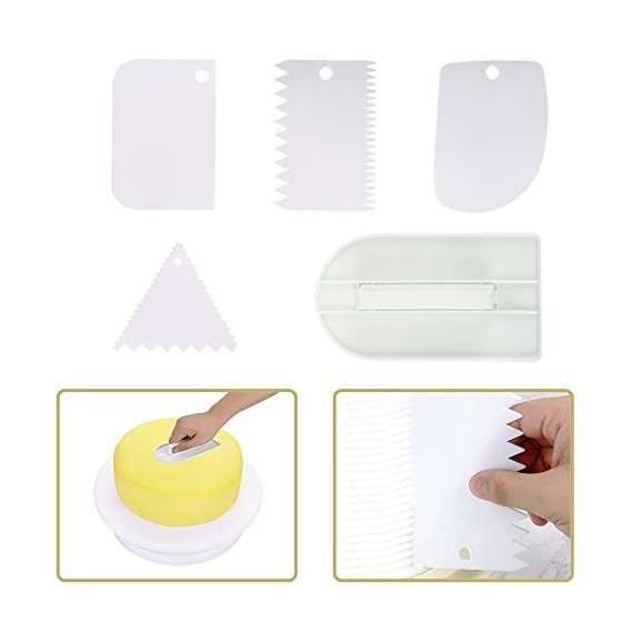Cake Decorating Supplies 58pcs Kit - 42 Icing Tips, 1 Cake Turntable, 1 Pastry Bag, 2 Couplers, 2 Spatulas, 2 Flower Nails, 1 Flower Lifter, 1 Brush, 1 Cake Pen, 1 Fondant Smoother, 4 Cake Scrapers 5 THE MOST COMPLETE CAKE DECORATING TOOL SET: With 58 professional-quality pieces, this cake decorating supplies kit gives professionals and beginners everything they need to decorate beautiful cakes and cupcakes. ALL THE SUPPLIES YOU NEED FOR CAKE DECORATION: This set comes with 42 stainless steel icing tips for making every decoration, 2 couplers, 1 reusable silicone pastry bag, 1 flower lifter, 2 flower nails and 1 cleaning brush. THE BEST BAKING SUPPLIES FOR PRO DECORATING: The 58 pieces also include 1 cake turntable, 2 icing spatulas, 4 cake scrapers and 1 fondant smoother. From cupcakes to cakes and every other baked good, this decorating set has everything!