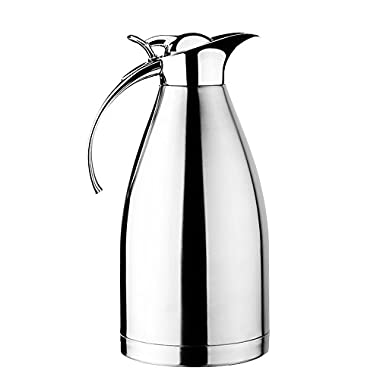 Hiware 68 Oz Stainless Steel Thermal Coffee Carafe, Double Walled Vacuum Insulated Carafe with Press Button Top, Quality Thermal Pitcher, Beverage Dispenser, 2-liter