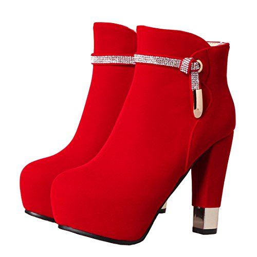 Boots Women's Heels Round Thick Ankle Rhinestones Zipper AIYOUMEI Red Toe Suede Autumn Winter PRdYqO