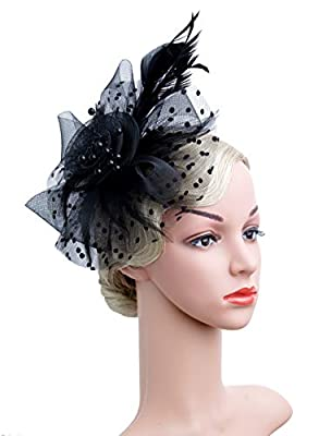 Czioe Flower Cocktail Tea Party Headwear Feather Fascinators Top Hat for Girls and Women