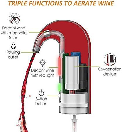 ISMARTEN - Aireador de vino eléctrico recargable portátil Decantador de vino y dispensador de un toque automático USB recargable para vino tinto y blanco (rojo)
